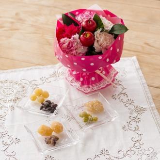 【母の日ギフト】「銀座鈴屋」華やぎ甘納豆&そのまま飾れるマザーズブーケセット
