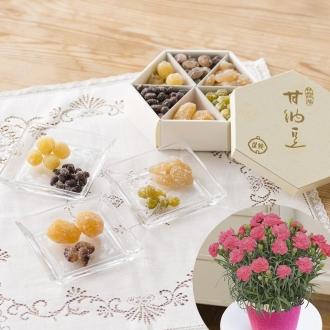 【母の日ギフト】「銀座鈴屋」華やぎ甘納豆&カーネーションセット