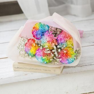 【母の日ギフト】虹色のカーネーションブーケ「ファンタジー」