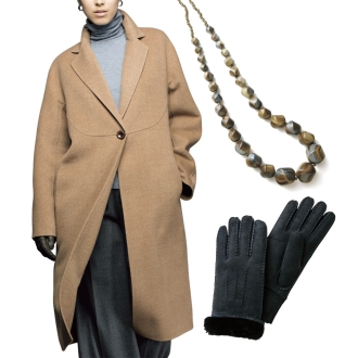 5万円福袋 「NIKKE」 マフライトダブルフェイス 一重仕立てコート + ムートン グローブ + ABISTE/アビステ メランジカラー ロングネックレス の豪華3点セット!