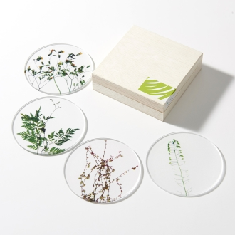 TOUMEI coaster set pressed flowers