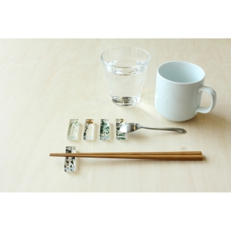TOUMEI chopstick rest set pressed flowers