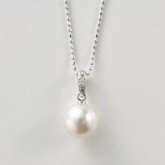 K18WG Akoya pearl diamond pendant