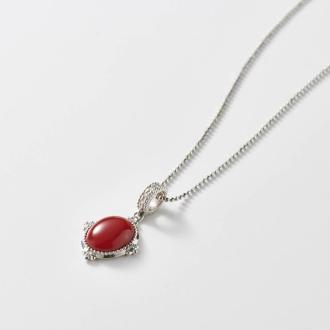 Okura coral shop PT blood red coral diamond pendant