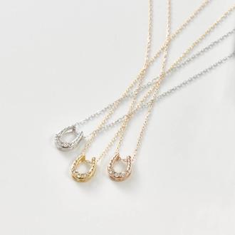K18 diamond design pendant horseshoe