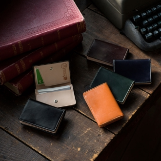 Bridle leather business card case