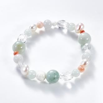 Yukiko Okura jade, coral bracelet