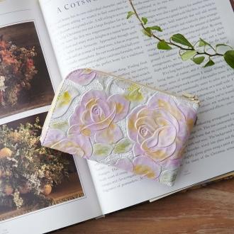 LiBERTE / Liberte leather rose type Press the L-shaped compact wallet