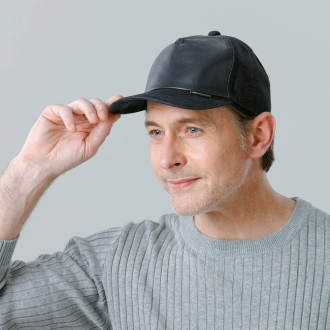 [男子]冈山牛仔布皮革上帽