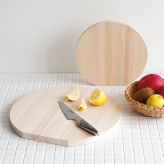 Round cutting board diameter of domestic cypress 35cm