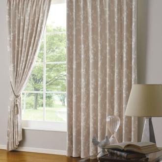 幅100×丈230cm ドレープが美しい形状記憶2倍ヒダジャカード織りカーテン(2枚組)