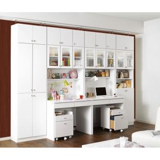 親子で使える棚板がっちり壁面ユニットデスクシリーズ 上置き・幅75cmロータイプ