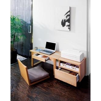 北海道産オーク材の文机シリーズ プリンター台