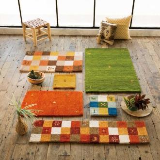 チェアマット 30cm角(インド製手織りギャベマット)