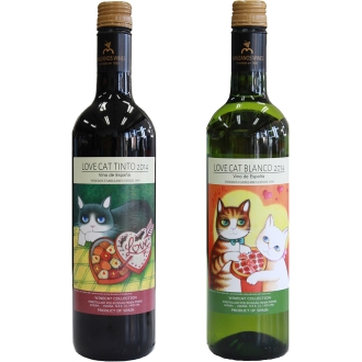 【通常お届け】フィンカマンサノス ラブキャット 赤・白ワインセット