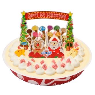 【クリスマスお届け】ブルーシールクリスマスアイスケーキ (1090ml) (クリスマスケーキ)