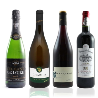 泡・白・赤のフランスワイン4種セット