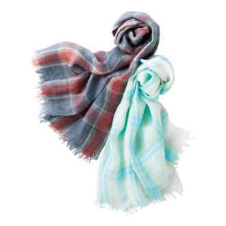 Air ramie yarn-dyed check stall