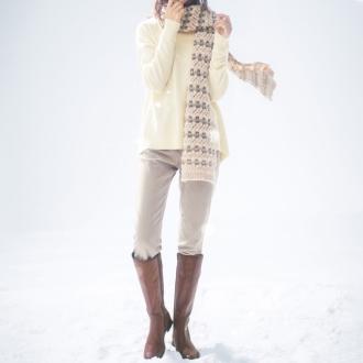 Kyarimaru company alpaca yarn used knit scarf (made in Italy)