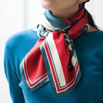 街灯×馬車柄 シルク スカーフ