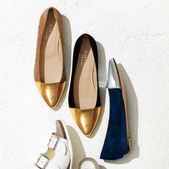 AQUALEATHER(R)/ AQUA皮革尖尖组合平底鞋