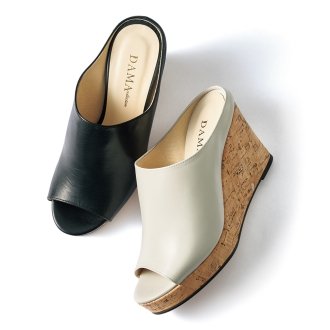 Cork wedge leather mules