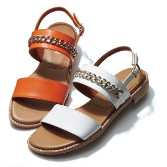 Metal design strap sandals