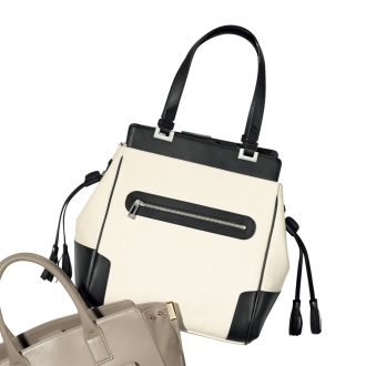 Front zipper combination material Tote Bag