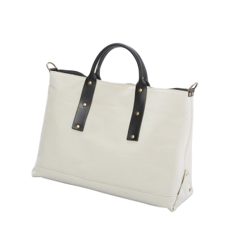 Leather canvas combination tote bag
