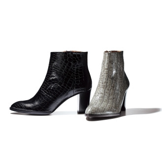 Pointed Toe short boots press Croco