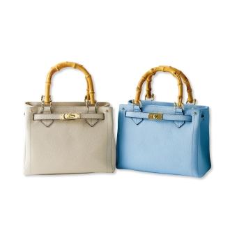Bamboo handle two-way handbag