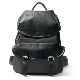 Leather combination flap backpack