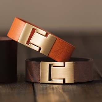 Leather Bangle with chain