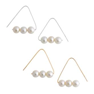 K10 Freshwater Pearl Triangle Earrings