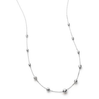 Pt850 cut ball slide necklace