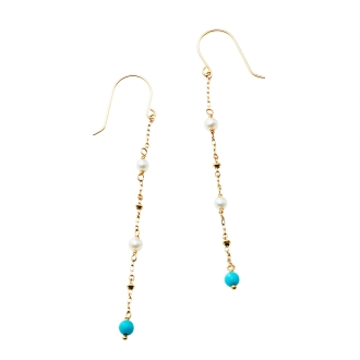 K10 fresh water pearl, turquoise design earrings