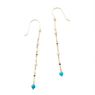 K10淡水珍珠,綠松石耳環設計