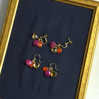 YUKIKO OKURA / Yukiko Okura Ruby Citrine Earrings
