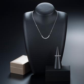 K18WGラインダイヤ お得な2点セット/リング(0.25ct)&ネックレス
