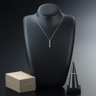ディノス オンラインショップK18WGラインダイヤ お得な2点セット/リング(0.15ct)&バータイプネックレス