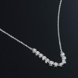 K18WGラインダイヤ フリーサイズネックレス(0.2ct)ホワイトゴールド