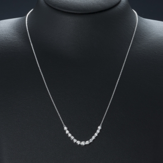 K18WGラインダイヤ フリーサイズネックレス(0.25ct)ホワイトゴールド